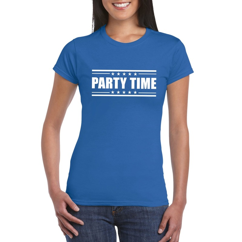 Party time t-shirt blauw dames