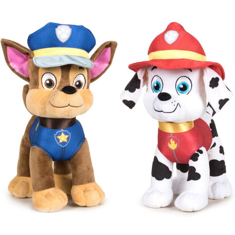 Paw Patrol knuffels set van 2x karakters Chase en Marshall 27 cm