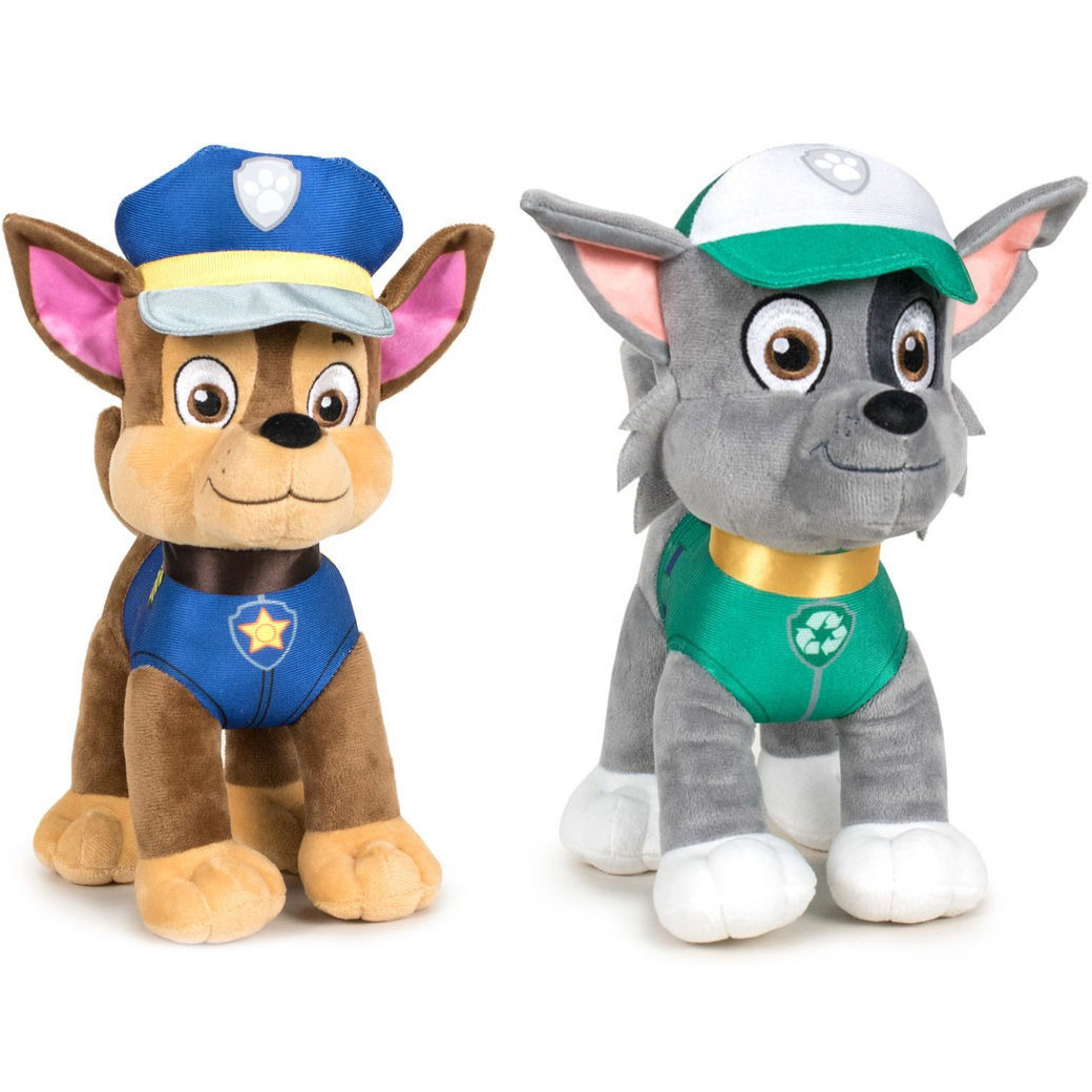 Paw Patrol knuffels set van 2x karakters Chase en Rocky 27 cm