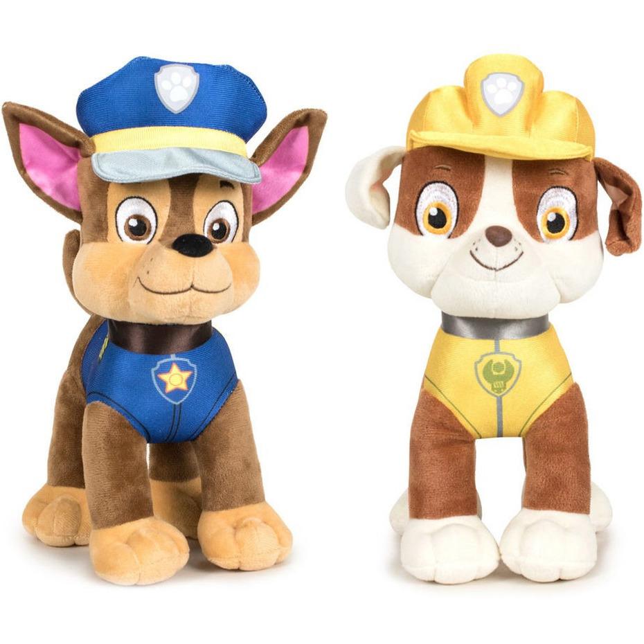 Paw Patrol knuffels set van 2x karakters Chase en Rubble 27 cm