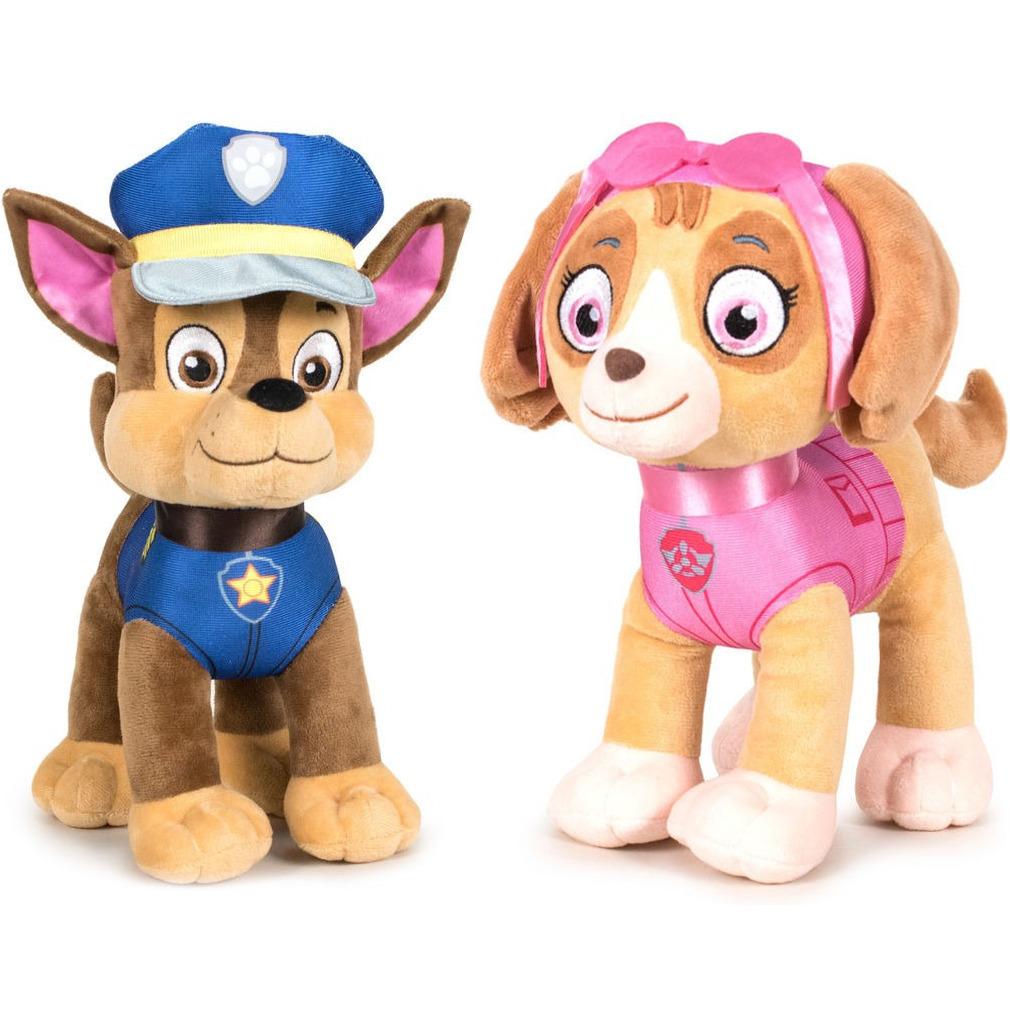 Paw Patrol knuffels set van 2x karakters Chase en Skye 27 cm