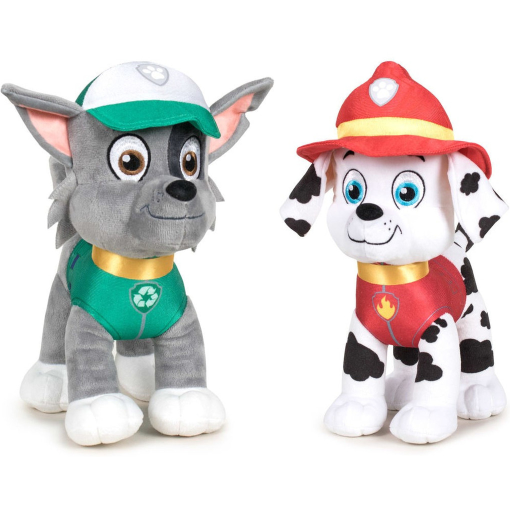 Paw Patrol knuffels set van 2x karakters Rocky en Marshall 27 cm