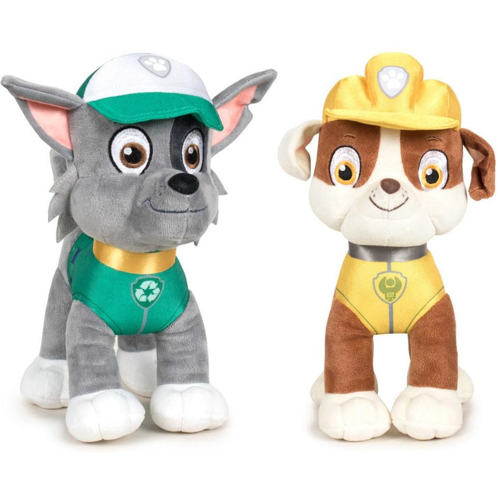 Paw Patrol knuffels set van 2x karakters Rocky en Rubble 27 cm