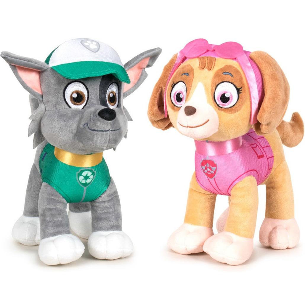 Paw Patrol knuffels set van 2x karakters Rocky en Skye 27 cm