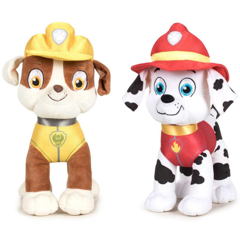 Paw Patrol knuffels set van 2x karakters Rubble en Marshall 27 cm