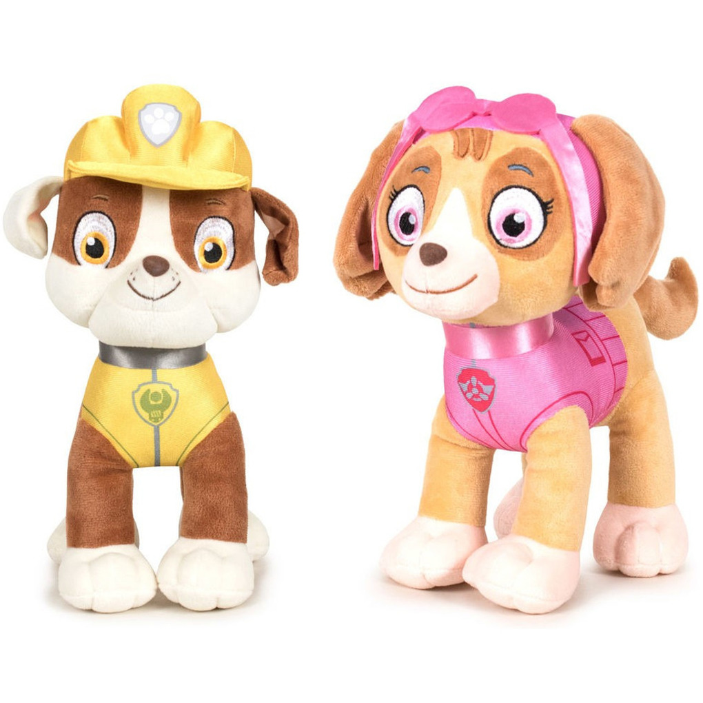 Paw Patrol knuffels set van 2x karakters Rubble en Skye 27 cm