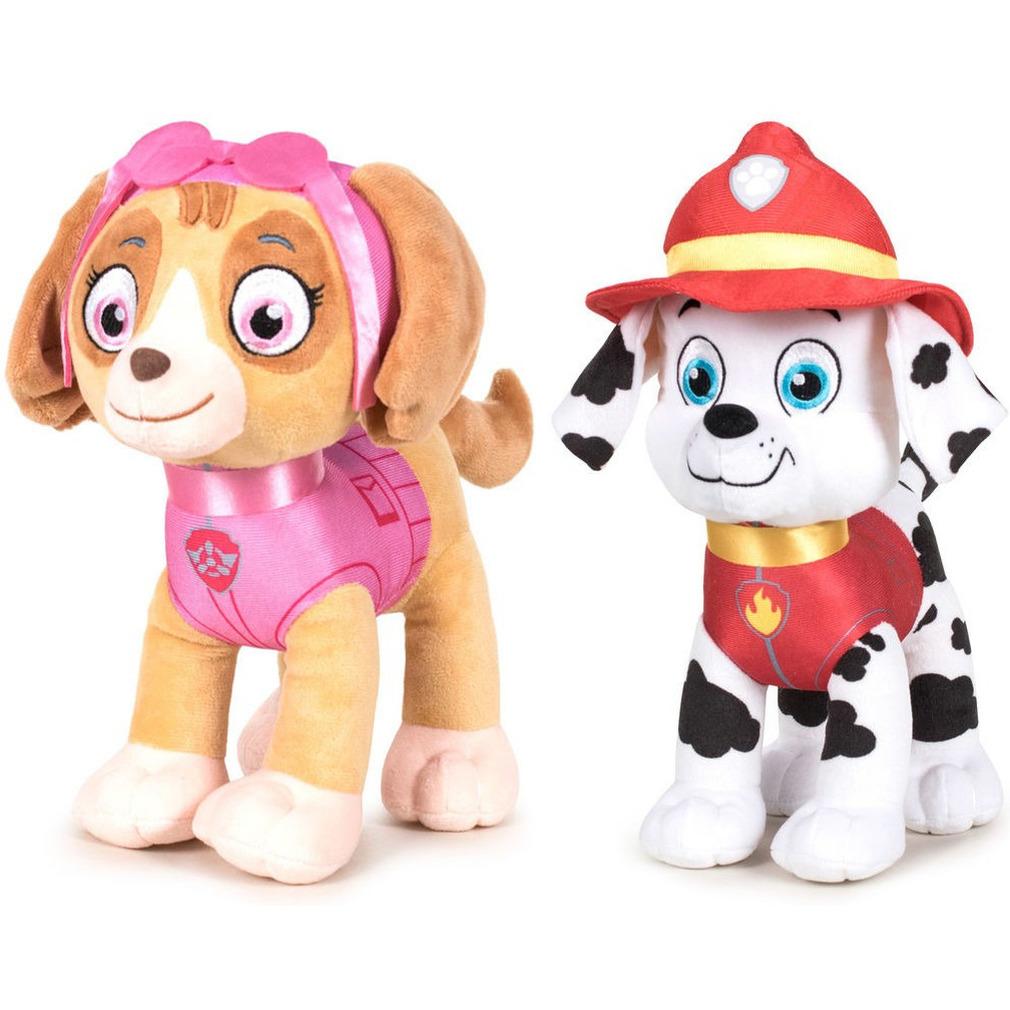 Paw Patrol knuffels set van 2x karakters Skye en Marshall 27 cm