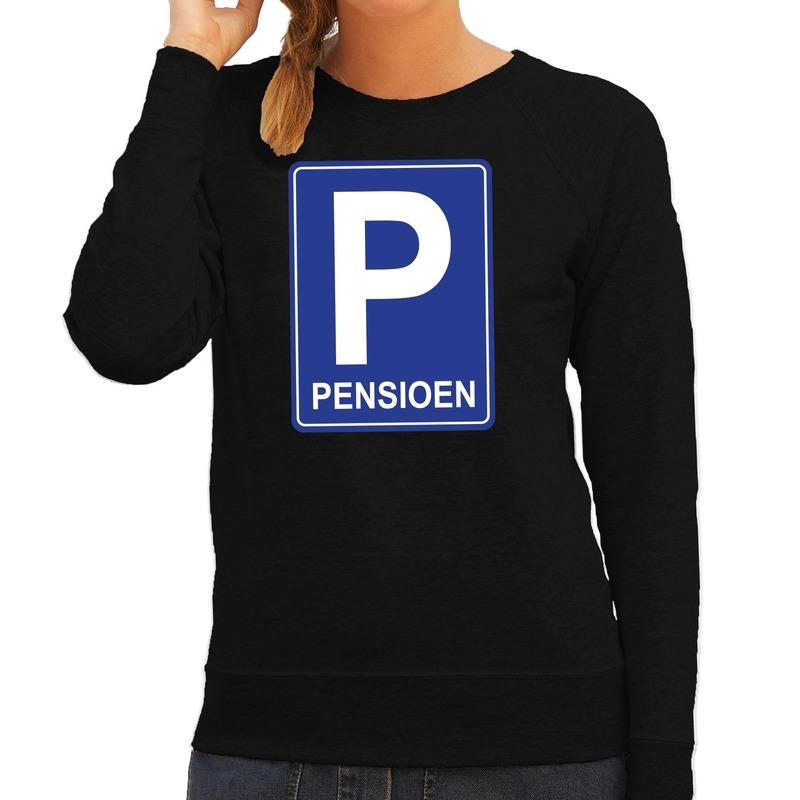 Pensioen P cadeau sweater zwart voor dames