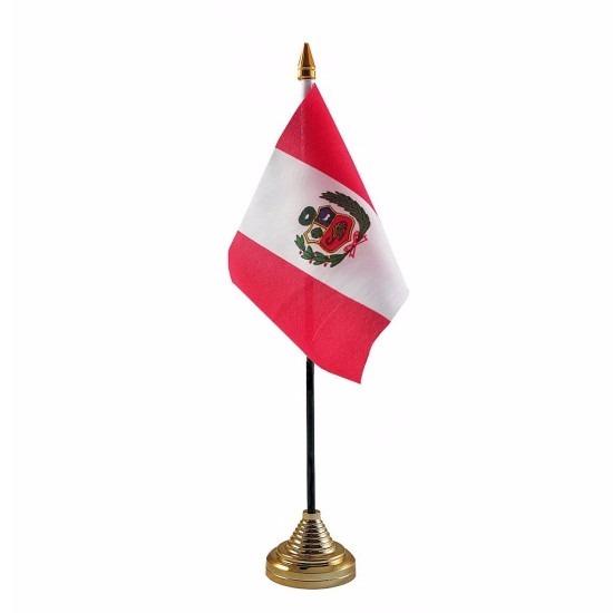 Peru tafelvlaggetje 10 x 15 cm met standaard