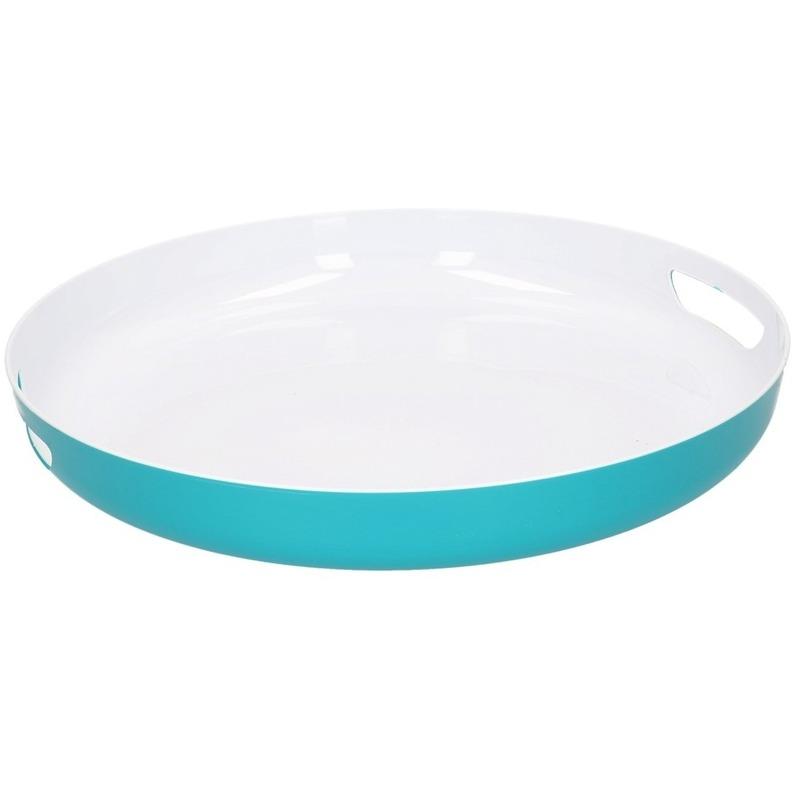 Petrol blauw/wit kunststof dienblad/serveerblad 38 cm Blauw