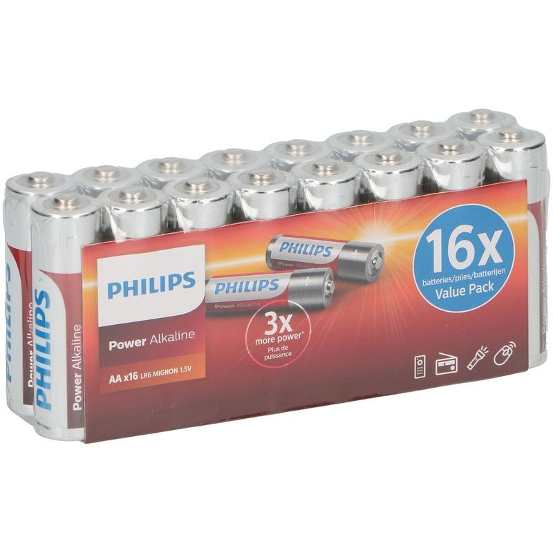 Philips power alkaline AA batterijen 16 stuks