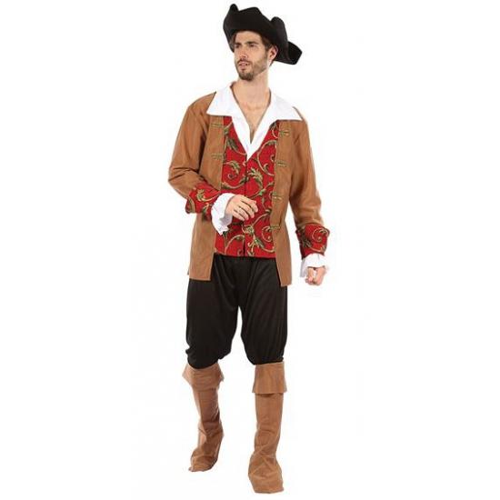 Piraten heren kostuum bruin/rood
