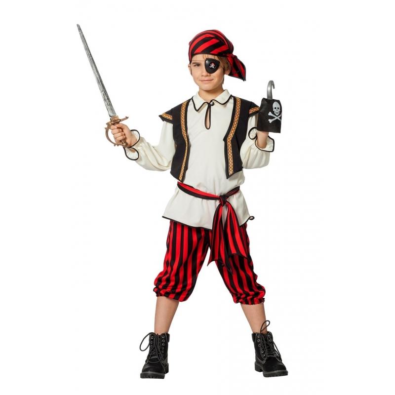 Piraten kostuum rood/zwart voor jongens
