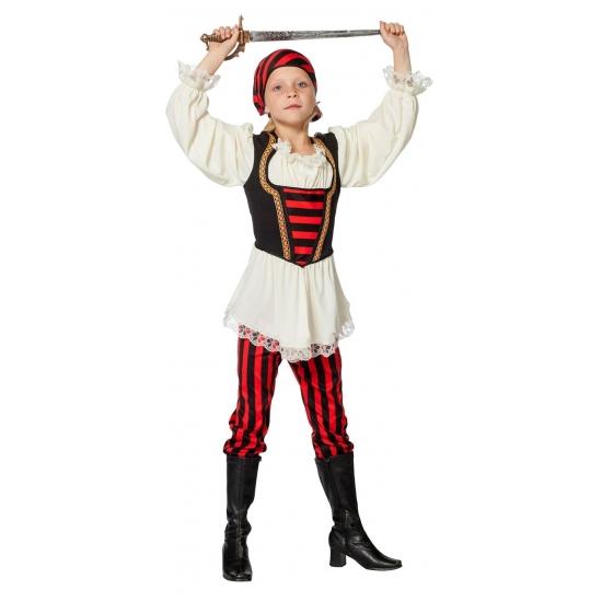 Piraten kostuum rood/zwart voor meisjes