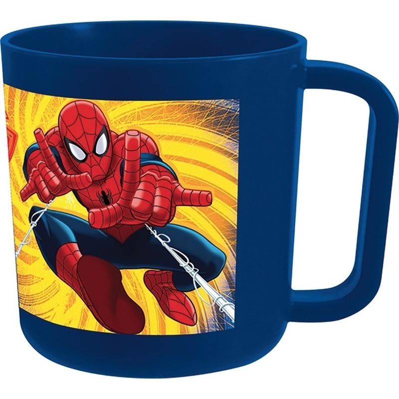 Plastic Spiderman beker blauw 7,5 cm