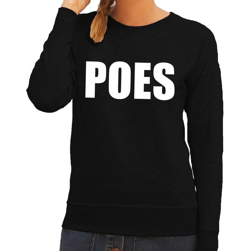 Poes tekst sweater - trui zwart voor dames