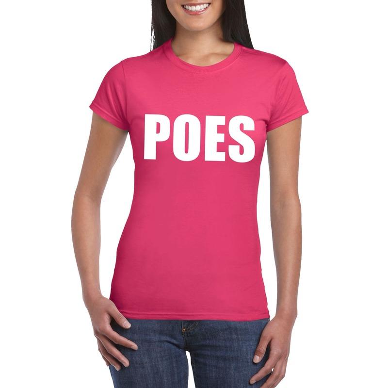 Poes tekst t-shirt roze dames
