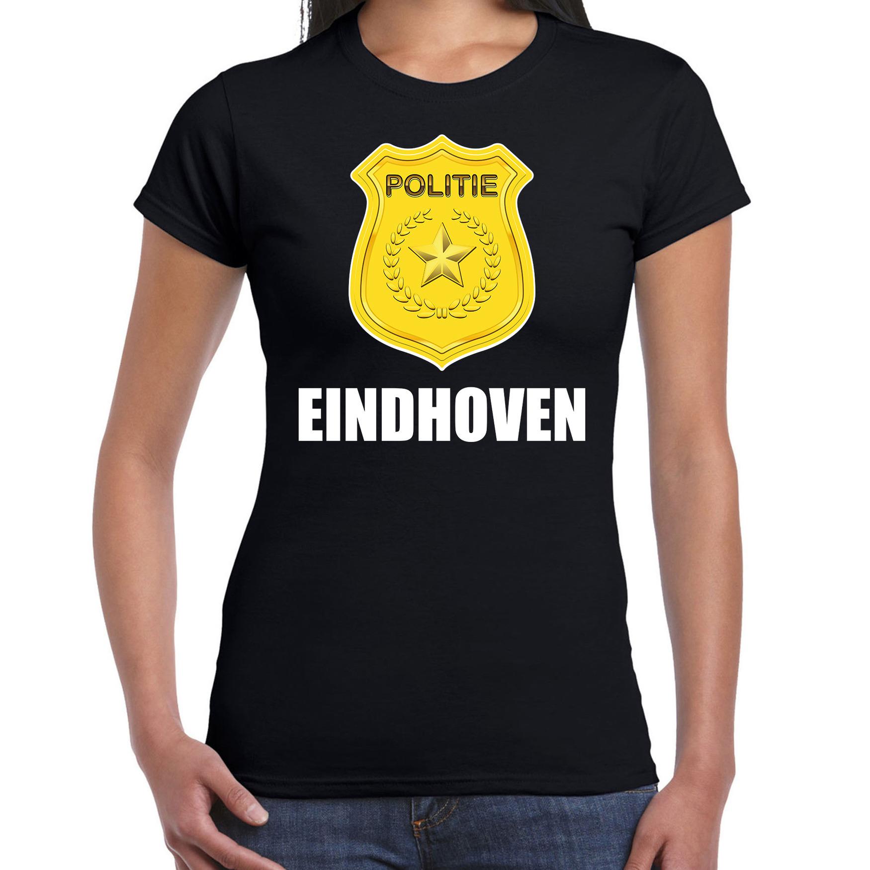 Politie embleem Eindhoven carnaval verkleed t-shirt zwart voor dames