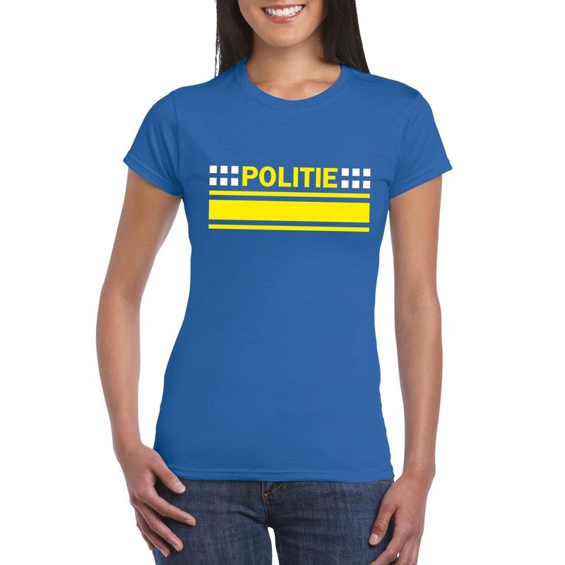 Politie logo t-shirt blauw voor dames