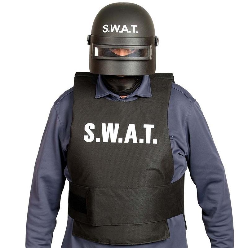 Politie SWAT verkleed helm met vizier voor volwassenen zwart