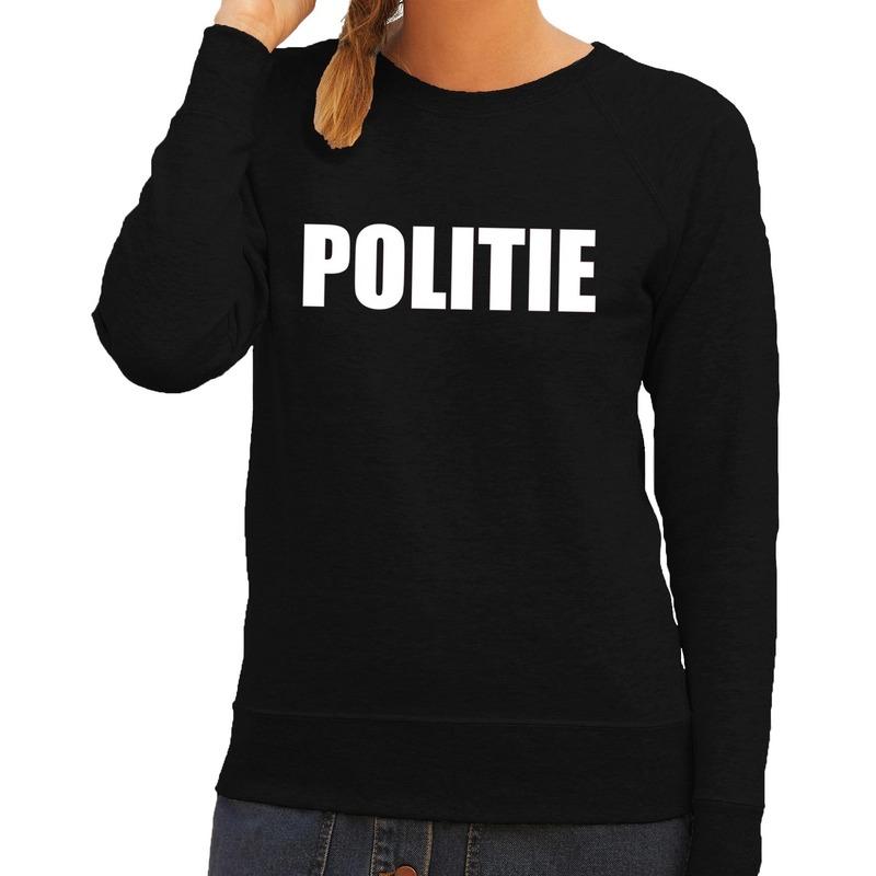 Politie tekst sweater - trui zwart voor dames