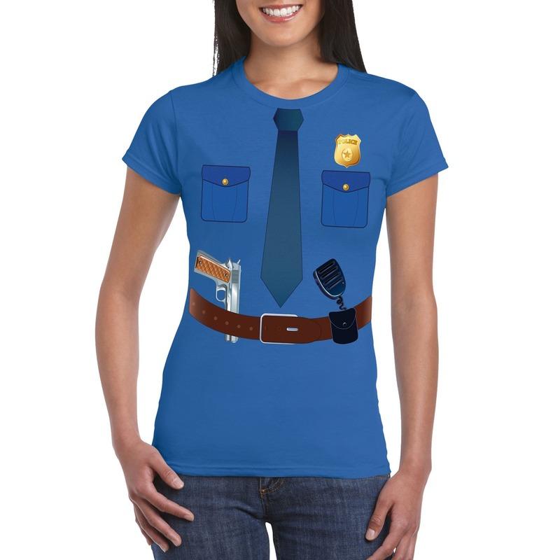 Politie uniform kostuum t-shirt blauw voor dames