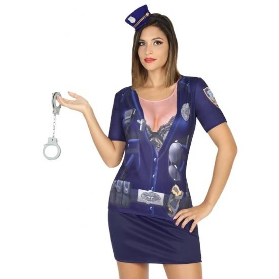 Politie verkleed shirt voor dames