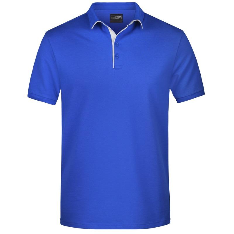 Polo shirt Golf Pro premium blauw/wit voor heren