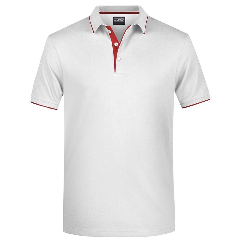 Polo shirt Golf Pro premium wit/rood voor heren