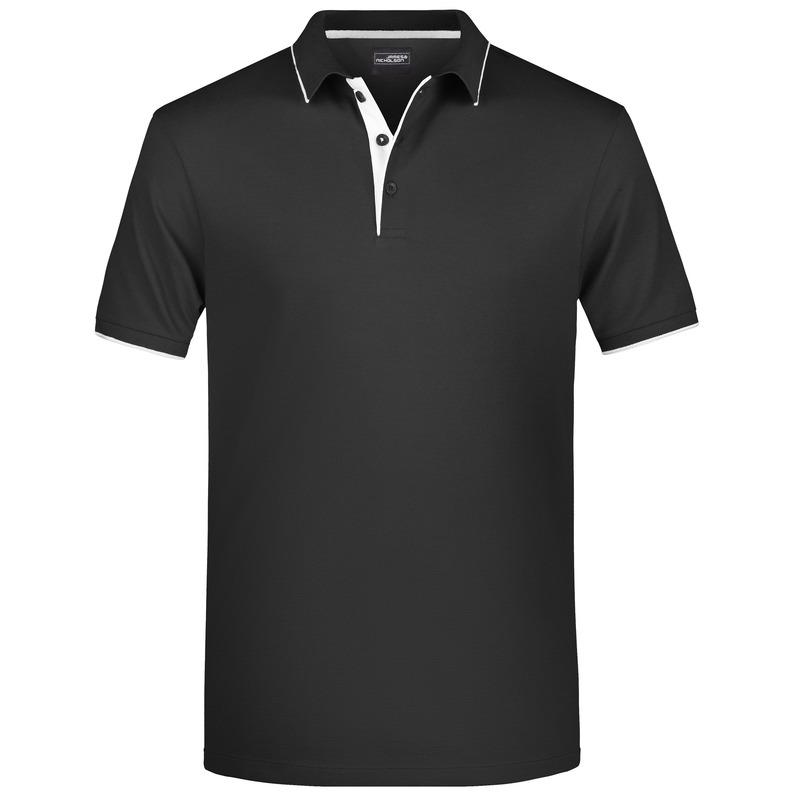 Polo shirt Golf Pro premium zwart/wit voor heren