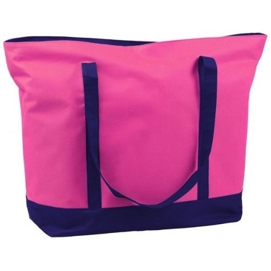 Polyester fuchsia roze shopper boodschappen tas 60 cm
