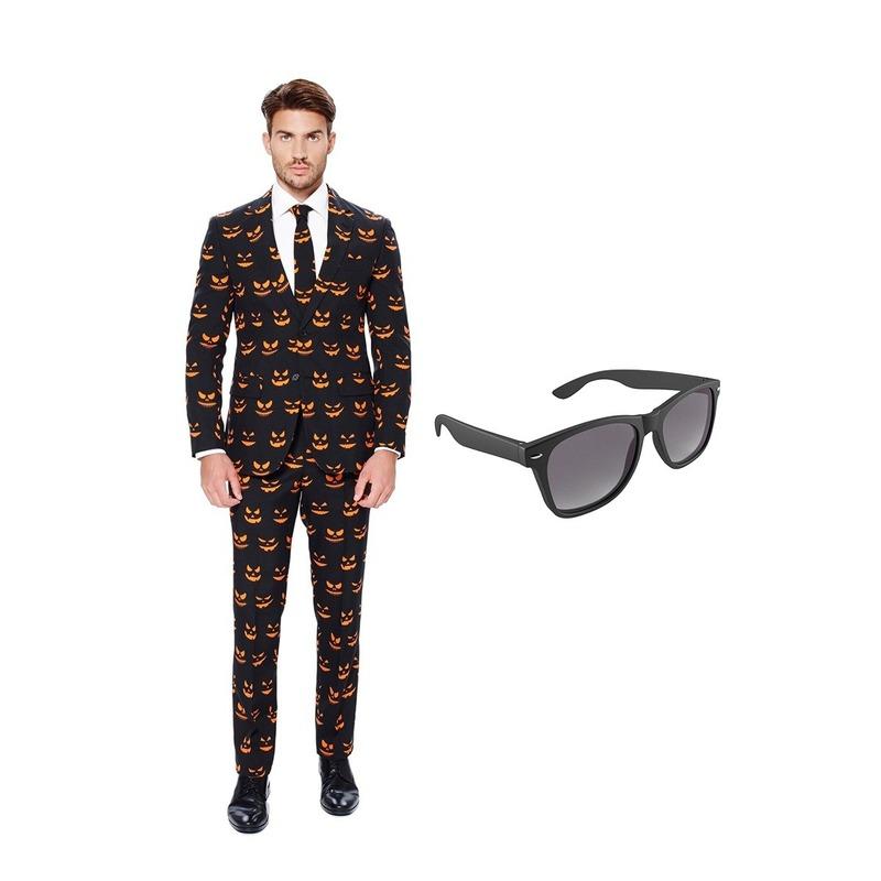 Pompoen print heren kostuum maat 54 (XXL) met gratis zonnebril