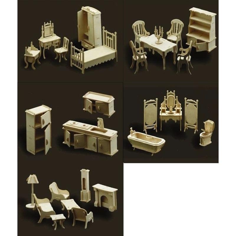 Poppenhuis meubels complete inrichting set Bruin