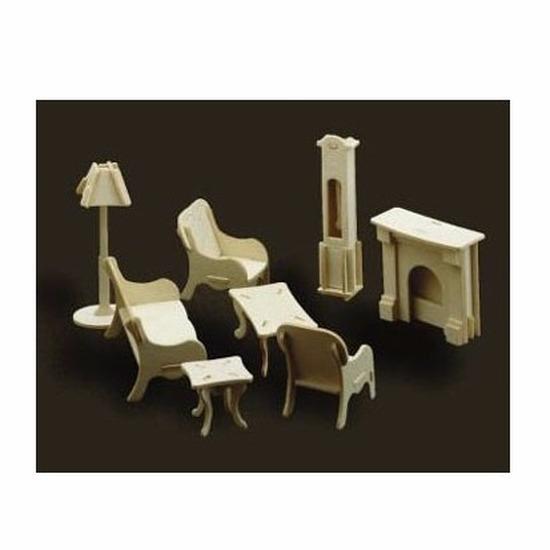 Poppenhuis meubels huiskamer Bruin