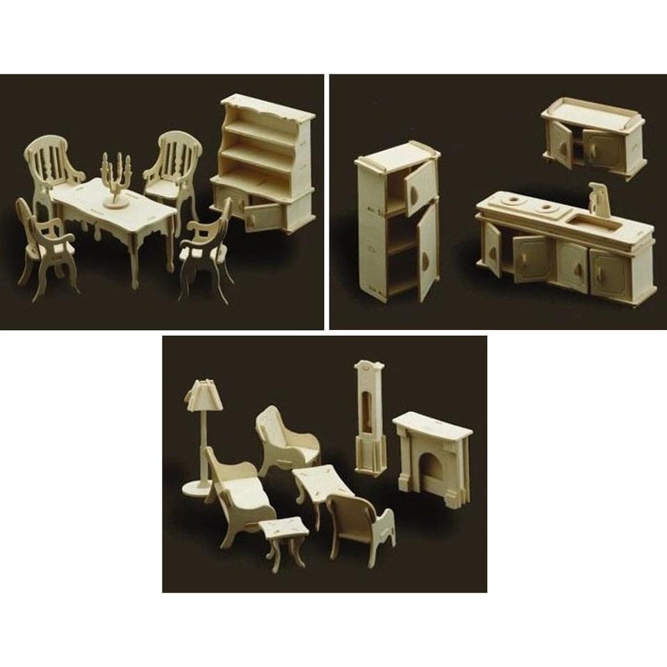 Poppenhuis meubels/meubeltjes keuken, huiskamer en eetkamer