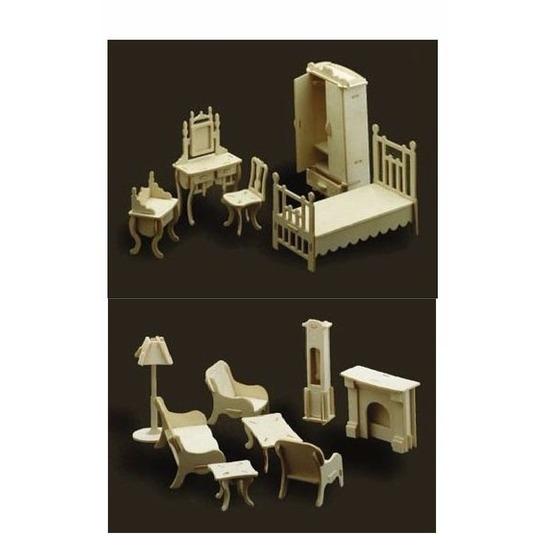Poppenhuis meubels slaapkamer en woonkamer - Poppenhuisinrichting