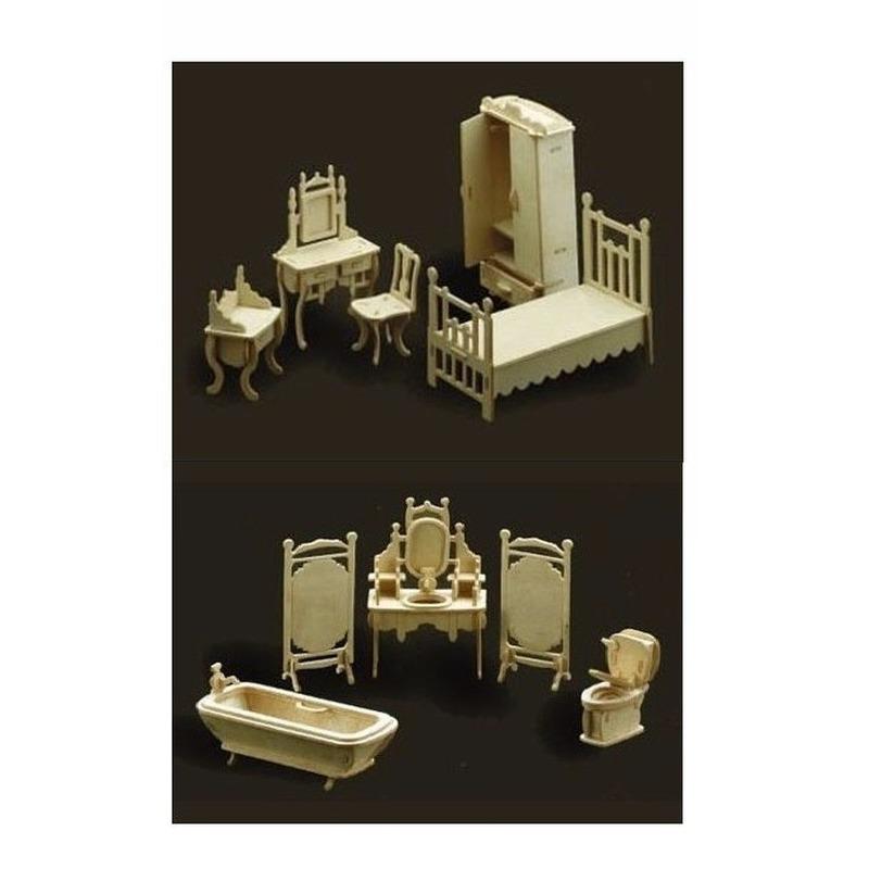 Poppenhuis slaapkamer en badkamer meubeltjes set Bruin