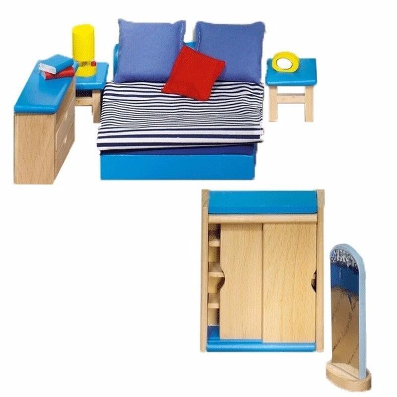 Poppenhuismeubeltjes moderne slaapkamer