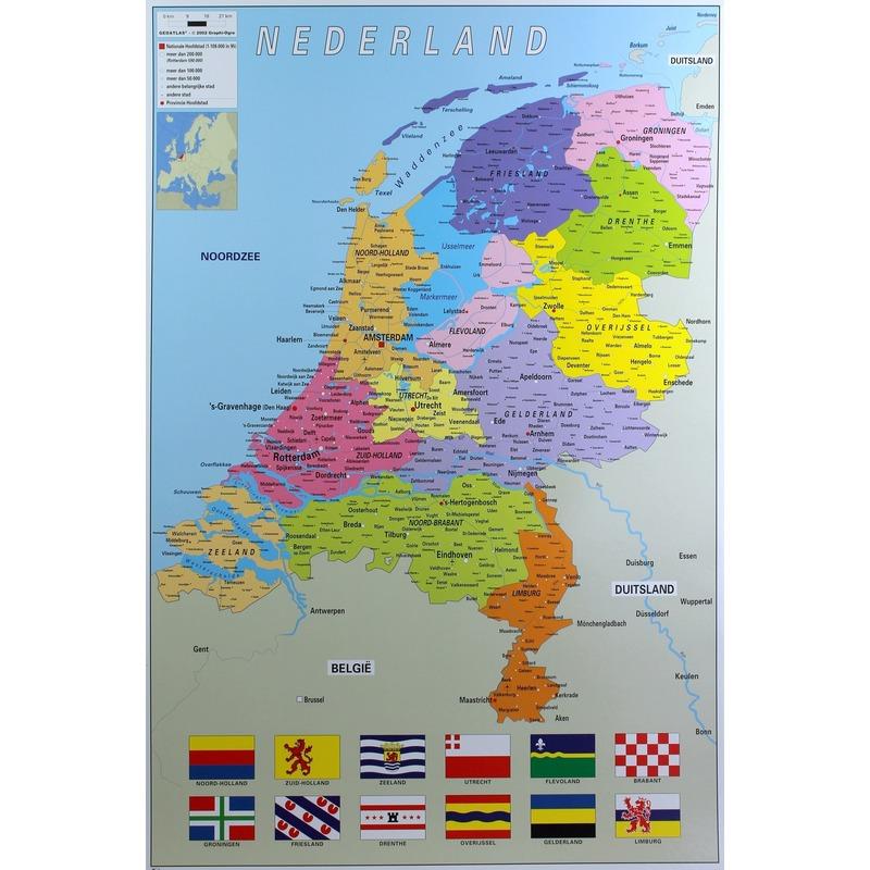 Poster Nederland provincie map kaart 61 x 91 cm wanddecoratie