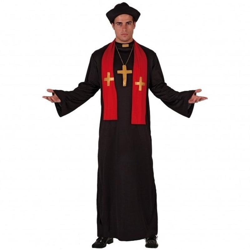 Priester kostuum zwart/rood voor volwassenen