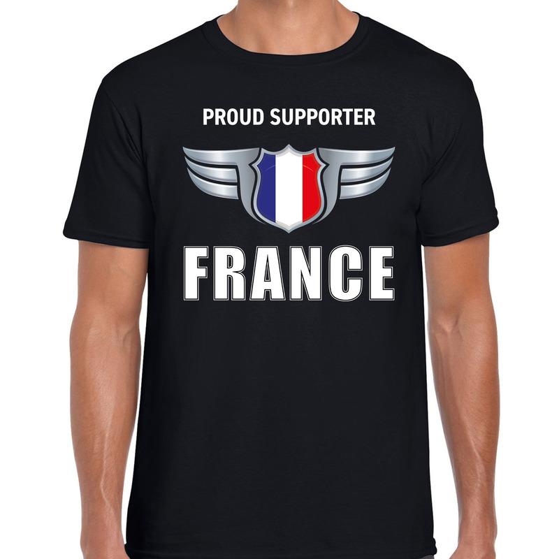 Proud supporter France - Frankrijk t-shirt zwart voor heren