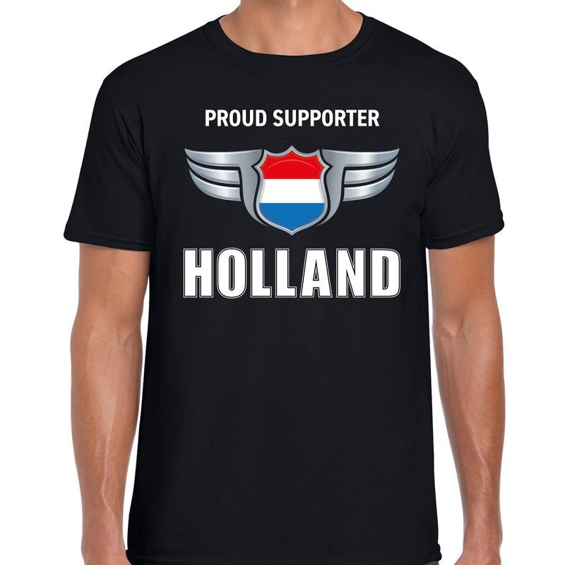 Proud supporter Holland - Nederland t-shirt zwart voor heren