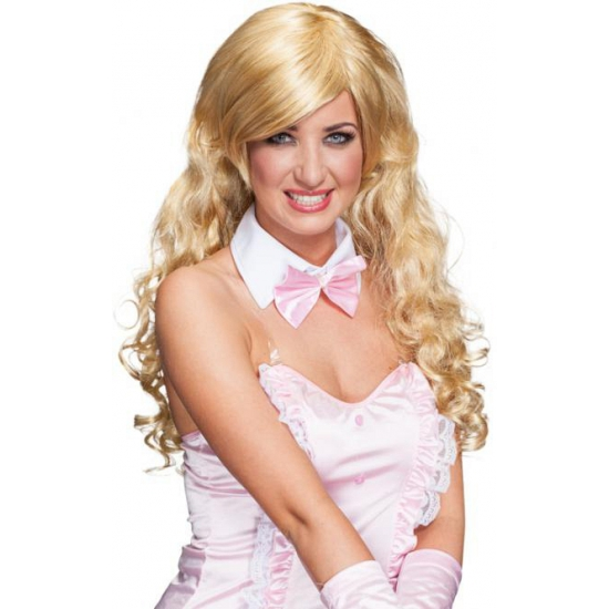 Pruik blond lang krullend haar Blond