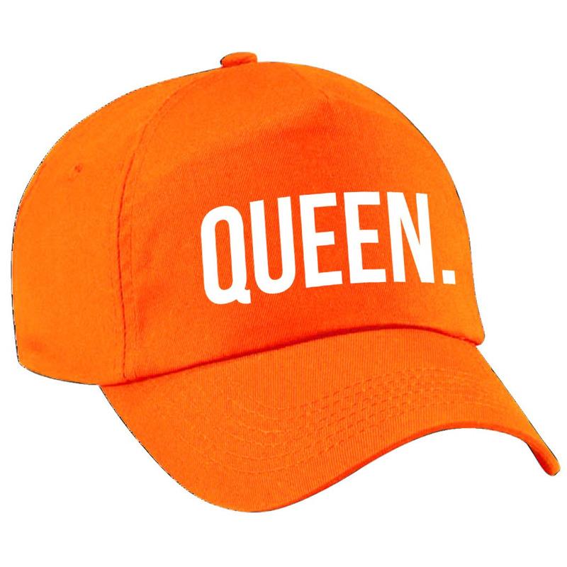 Queen pet - cap oranje met witte bedrukking voor dames