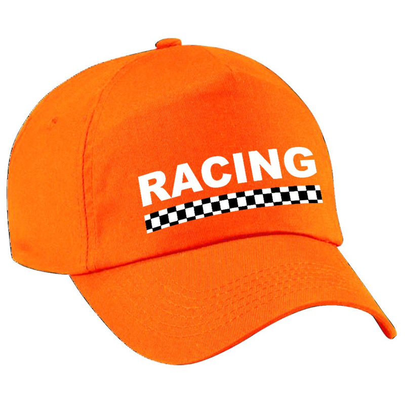 Racing - finish vlag verkleed pet oranje voor kinderen