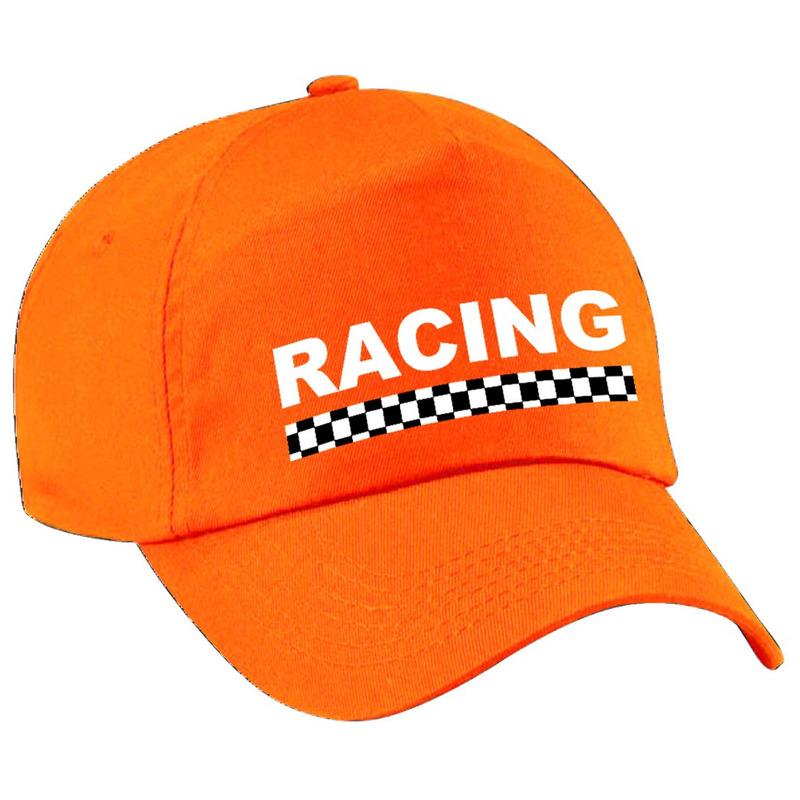 Racing - finish vlag verkleed pet oranje voor volwassenen