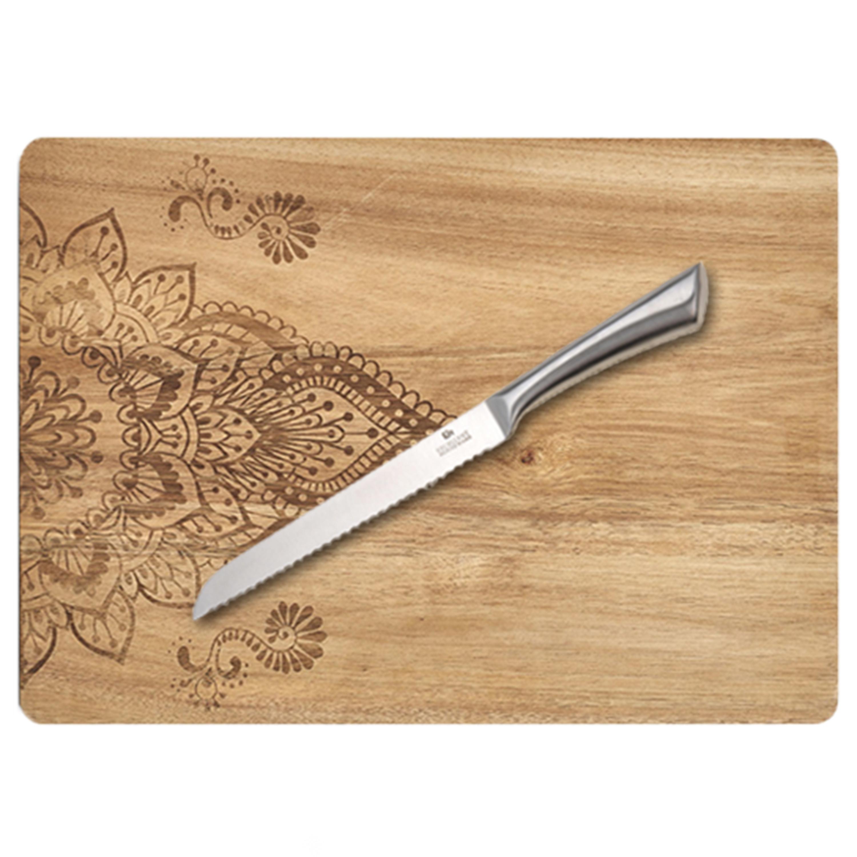Rechthoekige houten snijplank met mandala print 40 cm inclusief RVS Broodmes 33 cm