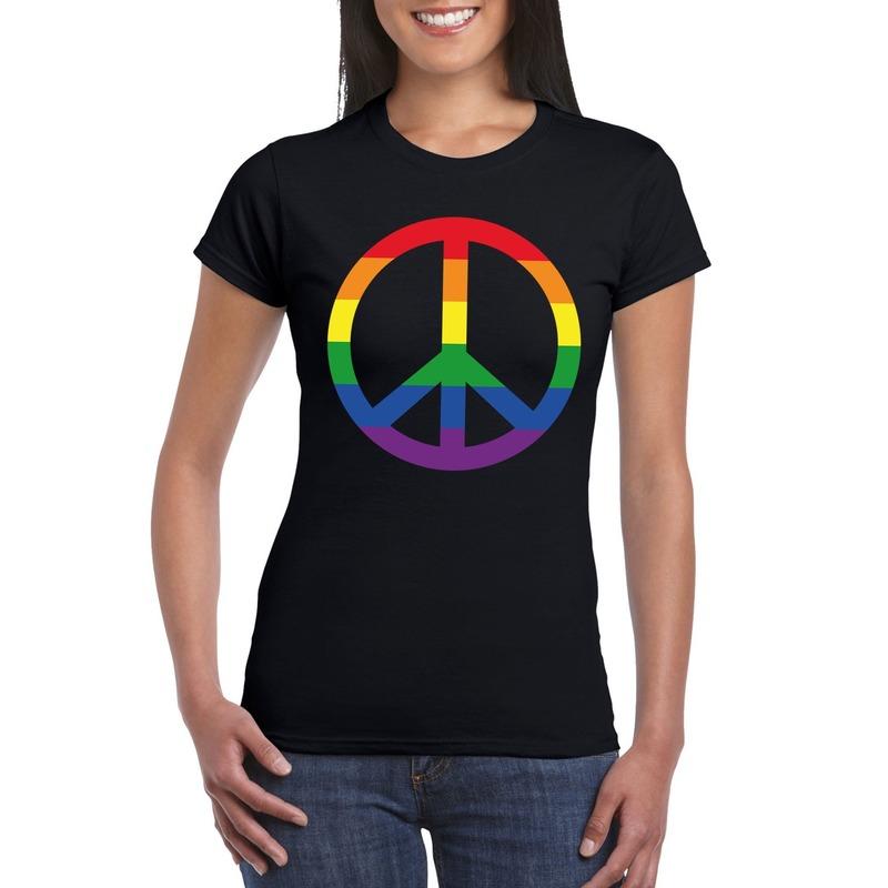 Regenboog peace teken shirt zwart dames