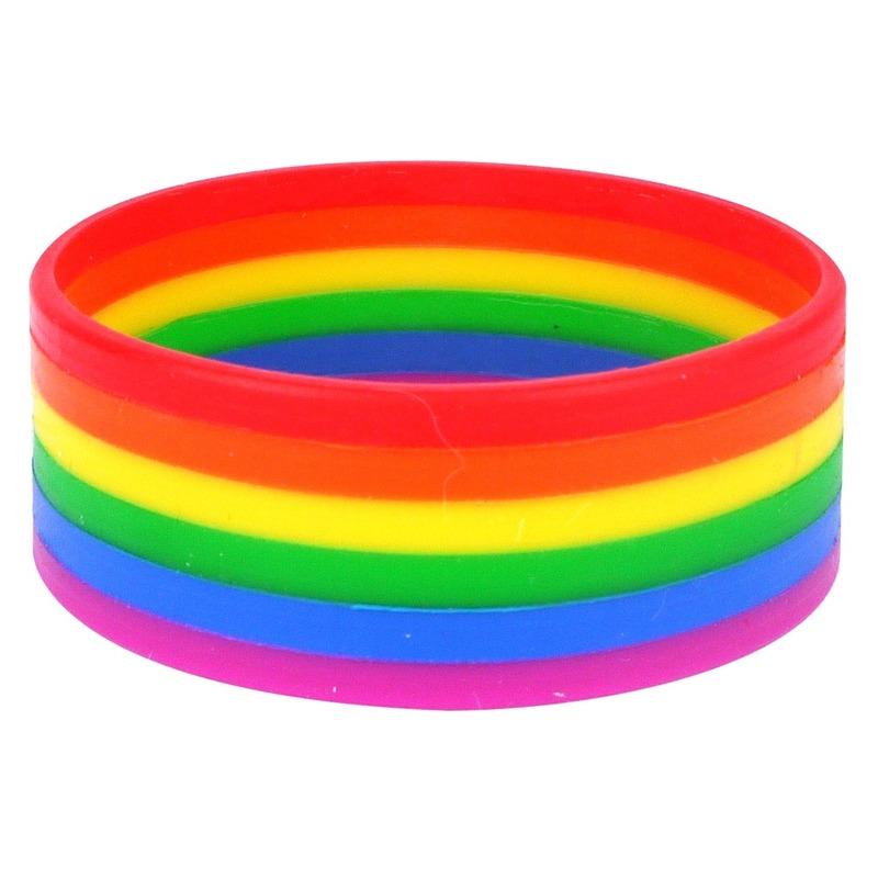 Regenboog pride kleuren siliconen armbandje 20 cm