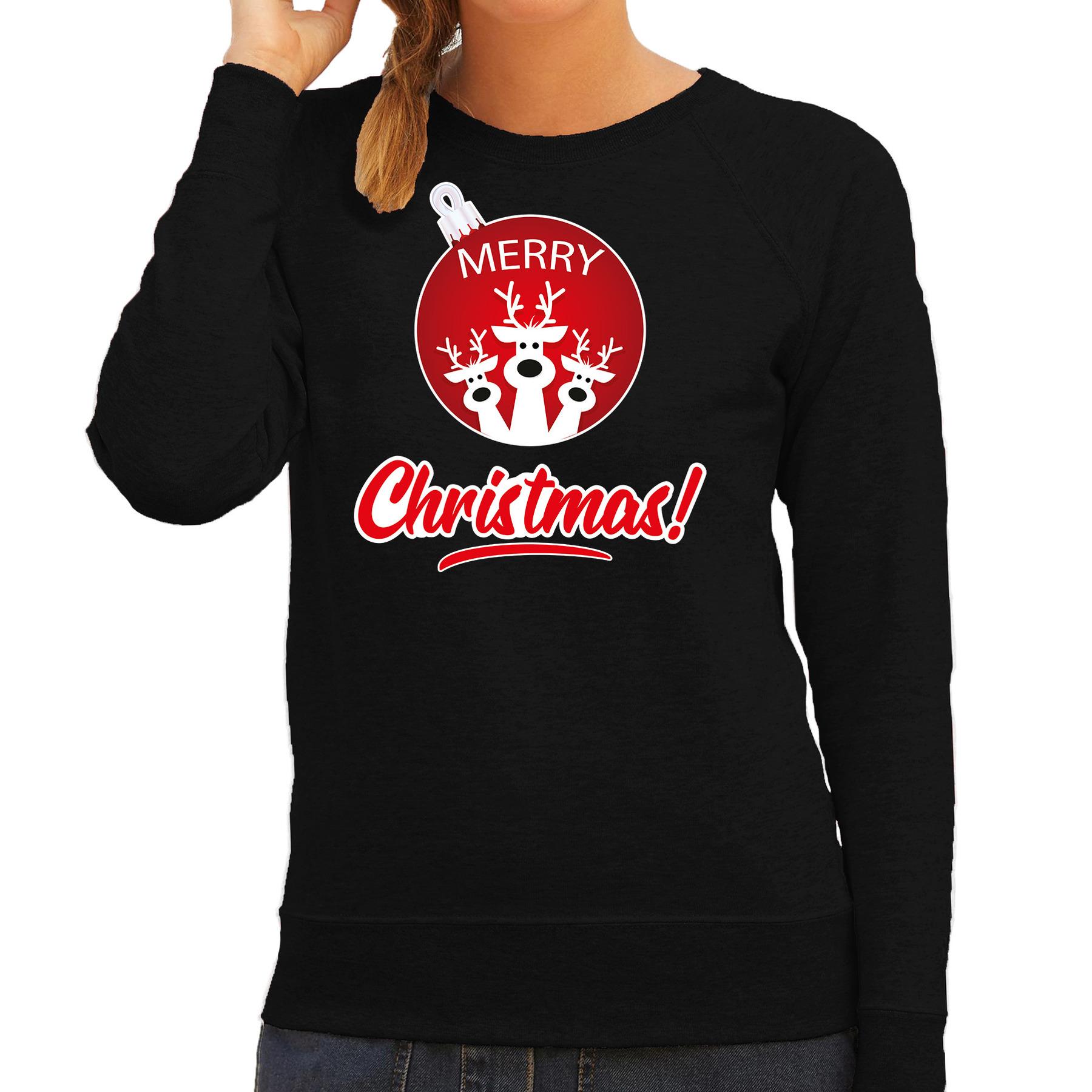 Rendier Kerstbal sweater - Kerst outfit Merry Christmas zwart voor dames